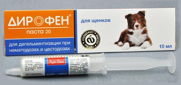 Рекомендуется травить гельминтов пастой Дирофен