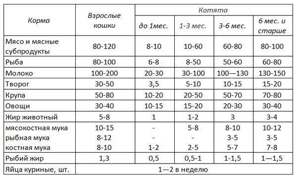 Схема кормления питомцев