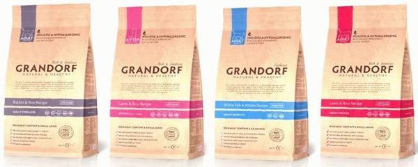 Корм Grandorf Sterilized рекомендовано употреблять как стерилизованным, так и стареющим питомцам